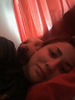 Mom and I cuddling